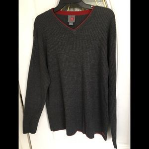 Quiksilver Char Gray Vee Neck Sweater For Tall Men